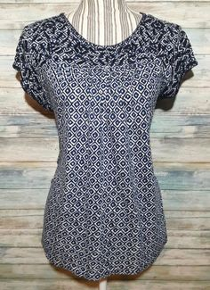 LUCKY BRAND BOHO SUMMER TOP CAP SLEEVE EMBROIDERED BLUE GEOMETRIC PRINT SHIRT M #LuckyBrand #Embroidered #Casual