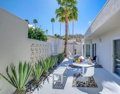 Palm trees & mountain views from the patio at 1886 Sandcliff Rd Palm Springs, presented by 🌴⛰ Palm Springs Houses, Palm Springs Style, Palm Springs Shopping, Palm Spring Condo, Small Palm Trees, Small Yard Landscaping, Backyard Renovations, Backyard Shade, Garden Villa
