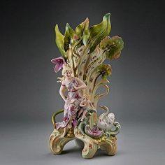 Art Nouveau Saxony Porcelain Figural Vase.