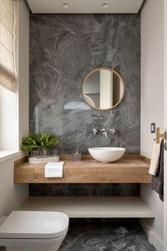 Banheiro pequeno decorado? Veja em 40 imagens que é possível! – Fashion Bubbles Washroom Design, Toilet Design, Bathroom Design Luxury, Modern Bathroom Design, Modern Bathrooms, Small Bathrooms, Design Kitchen, Small Toilet Room, Guest Toilet