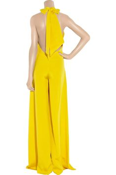 211ca961b63e Bright-yellow silk-crepe jumpsuit with a self-tie halterneck. Paul   Joe  jumpsuit has a slit at front