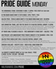 ICYMI monday pride events: full listings all week at halifaxnoise.com #halifax THE ABOMINABLE CRIME: SCREENING @ AGNS / 5:30PM / FREE EVENT w/ cash bar a documentary that explores homophobia in the Caribbean. . BI-PAN BOARD GAMES NIGHT @ VEITH HOUSE / 6PM / PWYC / FREE Halifax Bi-Pan Connection is hosting a Pride Week board game night! . HALIFAX PRIDE : TRIVIA & MOVIE NIGHT! @ THE BOARD ROOM GAME CAFE / 06:00PM The Board Room Game Cafe hosts two nights of Pride Trivia at 6pm on Monday…