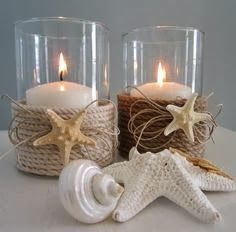 *Main Bathroom -Nautical theme* *Pretty* Nautical Decor Candle Holder w Nautical Rope diy. minus the little frilly thinks under the star fish Seashell Crafts, Beach Crafts, Diy And Crafts, Deco Marine, Nautical Bedroom, Beach Bathrooms, Boho Bathroom, Modern Bathroom, Small Bathroom