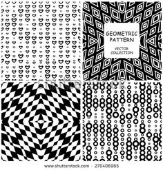 Collection of monochrome geometric seamless patterns. Vector backgrounds set of 4 texture pattern can be used for wallpaper, pattern fills, web page background,surface textures. seamless background - stock vector