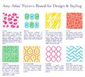 A quick fabric reference when reupholstering is in your redesign plans. Amy Atlas' Pattern Board for Design & Styling   Amy Atlas Events