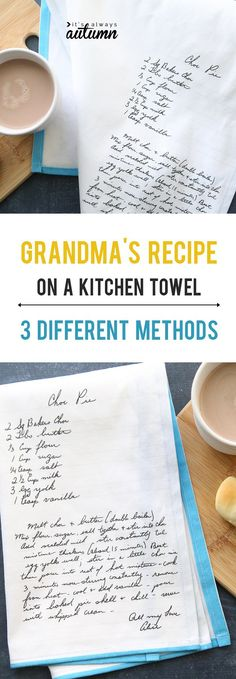 What a cool gift! Put Grandmas handwritten recipe on a kitchen towel. Click through for the how to. gift Everything you need to know to put Grandma's handwritten recipe on a tea towel Craft Gifts, Diy Gifts, 3d Laser, Old Recipes, Family Recipes, Recipies, Dish Towels, Diy Tea Towels, Dish Towel Crafts