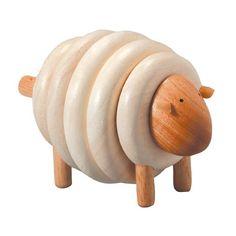 Jouet en bois recyclé écologique  Mouton à lacer PlanToys