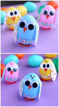 Plastic Easter Egg Owl Craft for Kids! (or they could be chicks) | CraftyMorning.com