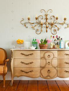 Mint Color Walls - Antique Dresser - Vintage Inspired Room
