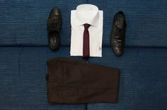 Brown trousers, black shoes, bordeaux tie and Marchetti WHITE SHIRT. http://www.marchettiatelier.com/