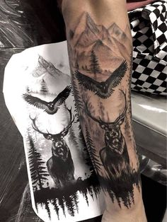 You are in the right place about Hunting Tattoos arrow Here we offer you the most beautiful pictures Forearm Sleeve Tattoos, Best Sleeve Tattoos, Tattoo Sleeve Designs, Tattoo Designs Men, Leg Tattoos, Tattoos For Guys, Tatoos, Tattoo Arm Mann, Stag Tattoo
