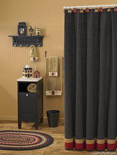 Folk Art Shower Curtain · Primitive Country HomesPrimitive DecorCountry ...