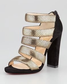 Mehari Snake-Print Suede Red Sole Bootie by Christian Louboutin at Neiman Marcus.
