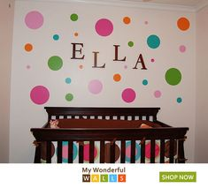 ideas for baby room wall decor gender neutral nurseries polka dots Polka Dot Room, Polka Dot Theme, Polka Dot Walls, Polka Dots, Baby Room Wall Decor, Kids Wall Decor, Baby Decor, Room Decor, Baby Girl Nursery Themes