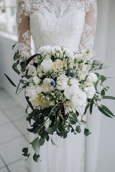 White & Greenery Wedding Bouquet | Sophisticated White & Green Colour Scheme for an Outdoor Australian Wedding at Summer Grove | Photography & Film by Mad Rose Films