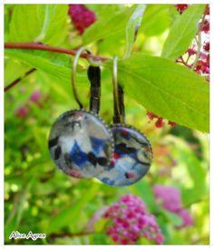 Boucles d'oreilles bronze et liberty - Bulles de verre N°1 : Boucles d'oreille par alice-ayres