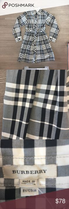Burberry dress Burberry button down dress, grey black and faint lavender  stripe classic Burberry plaid . Gorgeous Burberry Dresses