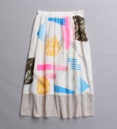 80s style graphic print full skirt