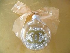 Chanel Ribbon & Pearl Christmas Ball Ornament