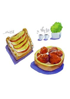 apple pie,Strawberry tart - painted by watercolor