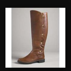 """TODAY $85 w/ MAKE OFFERHPMichael  Kors boots Amazing brown pebbled leather riding boots. The sturdy gold snap buttons on the sides open to reveal a luxurious faux fur lining. Worn gently with care & lovingly maintained with mink oil. Color is a little fainter on the sides & toe area, but helps makes them look rustic. Small scratch of top of one boot. Soles in excellent condition. Shaft heights:18.5"""" & calf circ:16"""", heel:1"""". Price is firm. KORS Michael Kors Shoes"""