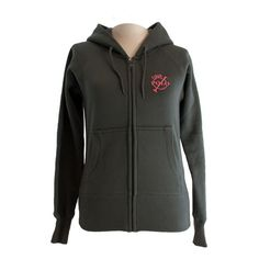 Grey zipped hoodie with horseshoe   front