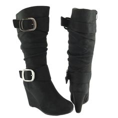 Women Knee High Faux Suede Wedge Boots Black /W Buckles Side Zipper >>> Awesome boots. Click the image : Knee high boots