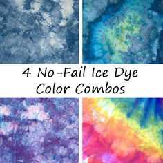 Want to try ice dyeing but worried it'll turn into a muddy mess? Here are four super easy, no-fail color ideas to make sure your fabric turns into a gorgeous masterpiece! tye dye shirts with bleach How To Tie Dye, How To Dye Fabric, Dyeing Fabric, Ice Tye Dye, Fabric Dyeing Techniques, Diy Tie Dye Techniques, Diy Tie Dye Shirts, Tye Die Shirts, Shirt Refashion