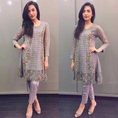 Sana Ansari spotted in a cutwork baby doll grey ensemble last night ✨#ajformals #ansabjahangirstudio #karachi #luxe #couture #dubai #london #easternwear #pakistanfashion #islamabad #instawow #instafashion #stylespotting
