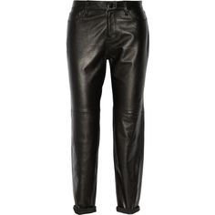 J Brand Casey stretch-leather boyfriend pants (4 505 SEK) ❤ liked on Polyvore featuring pants, bottoms, jeans, black, stretch-leather pants, stretchy pants, skinny leg jeans, stretch pants and j brand skinny jeans