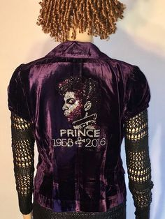 PRINCE -  Purple Crushed Velvet Jacket/Blazer with Gorgeous Rhinestone Prince Design in a size Medium