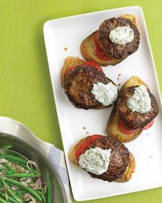 Open-Faced Burgers with Horseradish Sauce Recipe
