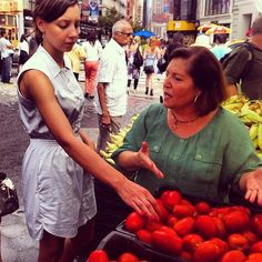 """""""Touch, feel & smell your tomatoes before buying"""" says Nonna Carolina for preserving tomatoes right. Great class at Haven's Kitchen."""