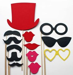 Photo Booth Props  13 Piece  Party Props by BeBopProps on Etsy, $21.00    :) So fun