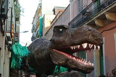 Giant T-Rex on the streets of Grácia in Barcelona