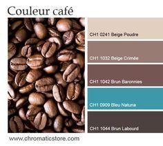 Pour une atmosphère moderne et dynamique, optez pour des tonalités de brun chaud associées à des teintes plus lumineuses, comme le Beige Poudre ou le turquoise (Bleu Natuna). Un mariage réussi et tendance. www.chromaticstore.com