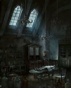 Iosefka's Clinic is an official concept artwork for the PlayStation video game Bloodborne by FromSoftware and game director Hidetaka Miyazaki. Bloodborne Concept Art, Bloodborne Art, Gothic Horror, Gothic Art, Fantasy Places, Fantasy World, Fantasy Life, Dark Souls, Dark Fantasy Art