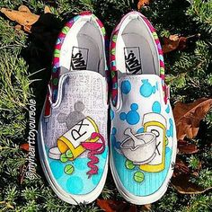 So excited about how these turned out. They're so fun and colorful!  Custom Pharmacy Vans with hidden Mickeys!