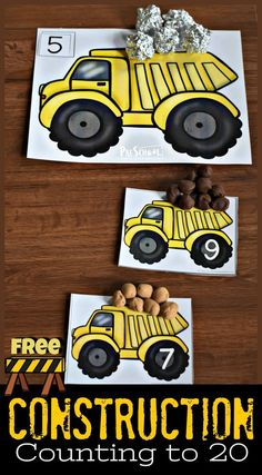 FREE Construction Counting to 20 – super cute number mats to help toddler, preschool, and kindergarten age kids practice counting These number playdough mats are a fun, hands-on math activity for preschoolers who love dump trucks. - Kids education an Kindergarten Age, Preschool Learning, Kindergarten Activities, Toddler Activities, Preschool Activities, Toddler Preschool, Space Activities, Montessori Preschool, Montessori Elementary