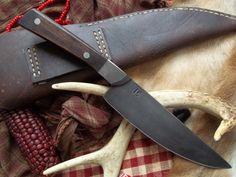Hand Forged Knife, Iron bolsters, walnut handle,, 18th century style. $80.00, via Etsy.