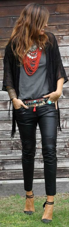 Boho Style, I'd probably wear jeans instead of leather