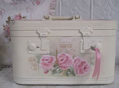 A5 Cottage White Train Case-hand painted roses pink roses train case hand painted train case