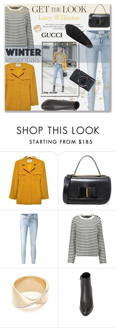 """""""Get the Look - Lucy William: 08/02/17"""" by pinky-chocolatte ❤ liked on Polyvore featuring Chanel, Salvatore Ferragamo, Frame, Maje, Adina Reyter, Alexander Wang, Gucci and Fujifilm"""