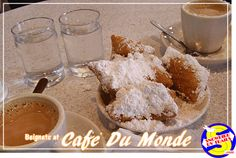 Beignets and Coffee Au Lait are a must on any visit to New Orleans. Beignets, New Orleans, Coffee, Desserts, Food, Kaffee, Tailgate Desserts, Deserts, Essen