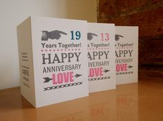 Anniversary letterpress card Years Together Custom Personalised £3.95