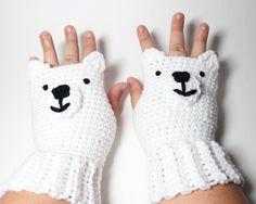Polar Bear fingerless gloves crochet white gloves by MsAmandaJayne, $35.00 #movienight