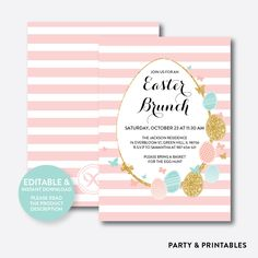 Easter Brunch Hol... http://partyandprintables.com/products/easter-brunch-holiday-invitation-editable-instant-download-shi-06?utm_campaign=social_autopilot&utm_source=pin&utm_medium=pin #partyprintables #birthdayinvitation #partysupplies #partydecor #kidsbirthday #babyshower