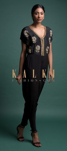 Buy Online from the link below. We ship worldwide (Free Shipping over US$100)  Click Anywhere to Tag Black-Dhoti-Style-Jumpsuit-In-Crepe-With-Embroidered-Floral-Motifs-Online-Kalki-Fashion Floral Motif, Salwar Kameez, Cover Up, Jumpsuit, Free Shipping, Link, Stuff To Buy, Outfits, Dresses