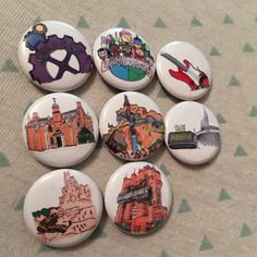 Disney World or Disneyland lovers!!! These Disney pins are guaranteed to make you smile! They are hand drawn digital depictions of some of