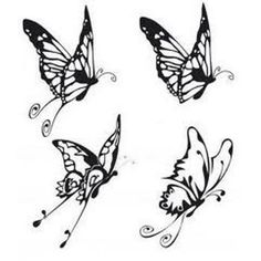 Four butterfly tattoo